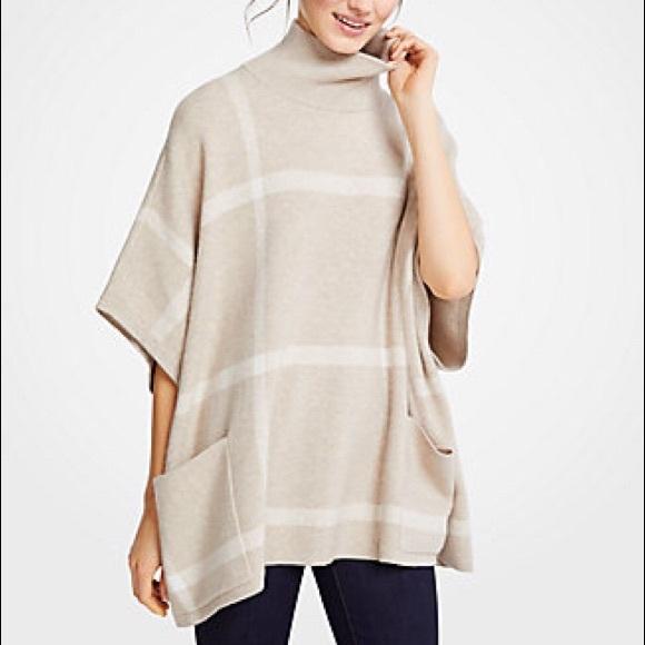 bc9892ad9 NWT Ann Taylor Plaid Poncho Sweater M L in Sand